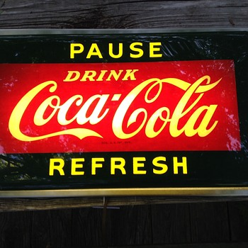 Coca cola pause refresh plexiglass light up sign