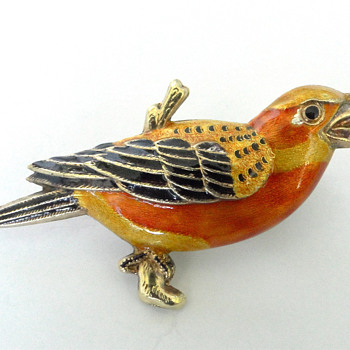 Golden Enamel Bird Brooch/ pendant. Marked Silver.  - Fine Jewelry