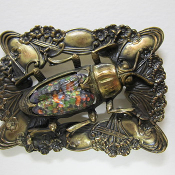 Art Nouveau Brass & Glass Sash Pin