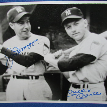 Autographed B&W Photo of Joe DiMaggio & Mickey Mantle - Baseball