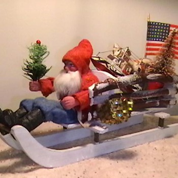 1920's-1930's Santa and Sleigh
