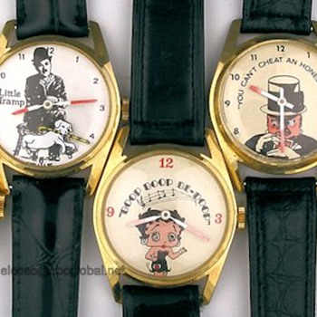 70's Charlie Chaplin, Betty Boop, W.C. Fields, & Groucho Marx Animated Watches - Wristwatches