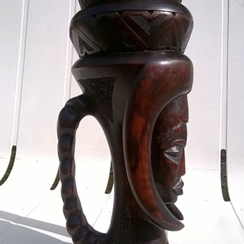 Large Tribal Carved Wooden Tankard Thrift Shop Find $4.00