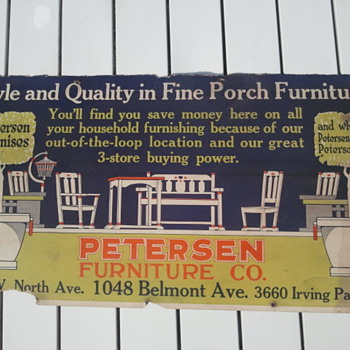 Pre-1920&#039;s Cardboard Trolley Car Furniture Store Advertisement Sign