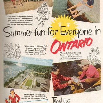 1952 - Ontario Travel Advertisement - Advertising