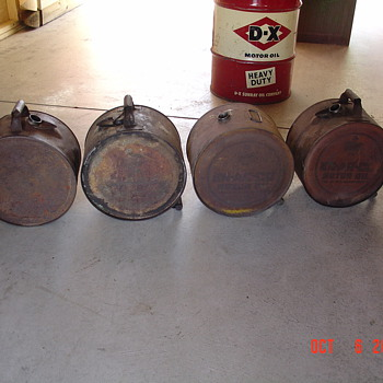 1920's... 5 Gallon Oil Rocker Cans...Three Of The Brands Here...En-ar-co...Nourse...Velvet