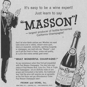 1955 Paul Masson Champagne Advertisement - Advertising