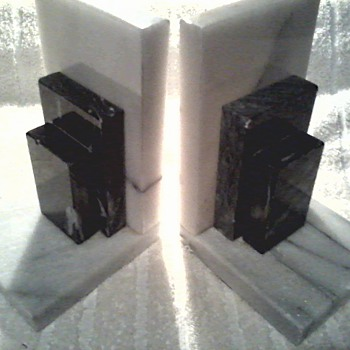 Art Deco Style Grey and White Marble Bookends / Circa 1950's - Books
