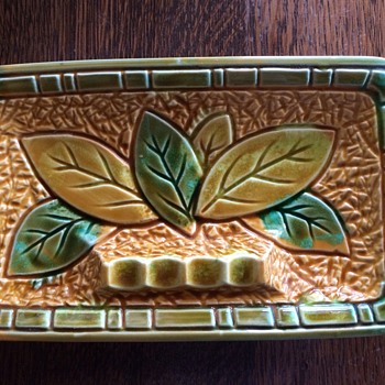 I wish I knew more about this Tobacco Leaf design ashtray. - Art Pottery