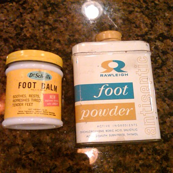 Dr Scholls foot balm an d Rawleigh foot powder