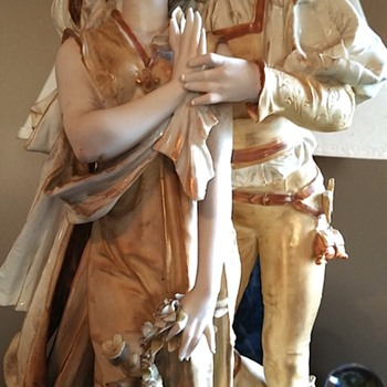 Romeo & Juliet table lamp, porceline bisque lamp. - Lamps