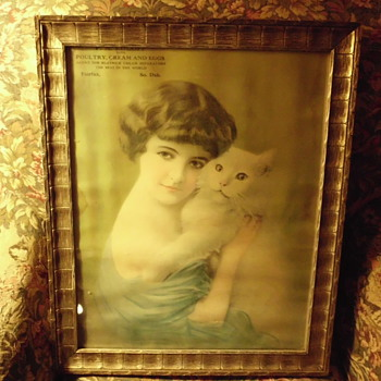 antique picture / calender framed and used for picture  - Advertising