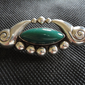Vintage Mexican Arts & Crafts Silver Brooch by Villa - Fine Jewelry