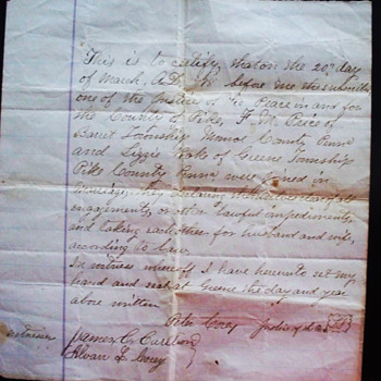 1878 Handwritten Marriage Certificate,  Monroe County PA - Paper
