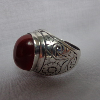 Unmarked Large Engraved Ring with Carnelian