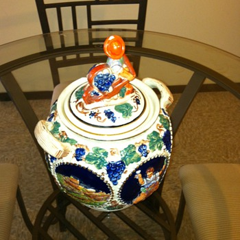 SEIT GERMANY COOKIE JAR SIGNED 1863 WITH A TIANGLE  - Art Pottery