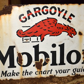 GARGOYLE Mobiloil 'Make the Chart Your Guide' Double-sided Porcelain Sign