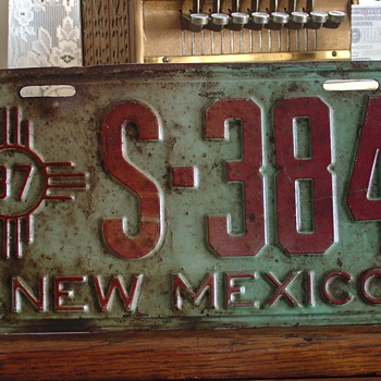 1937 New Mexico License Plate - Signs