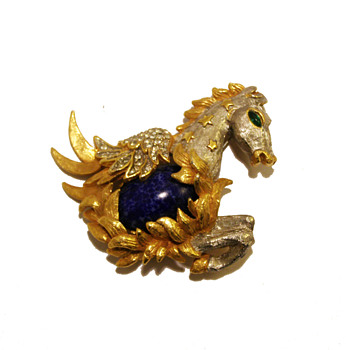 Vintage Kenneth Jay Lane Jeweled Pegasus Brooch - Costume Jewelry