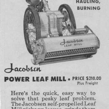1950 Jacobsen Leaf Mill Advertisement - Advertising
