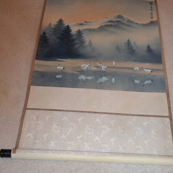 Asian painted Landscape Scroll
