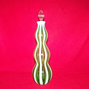 Fenton Green Opalescent New World Wine Bottle - Art Glass