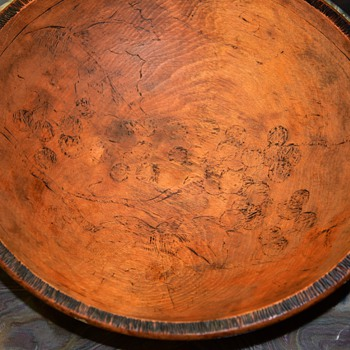 Wooden Bowl with Pyrographic Designs worn off