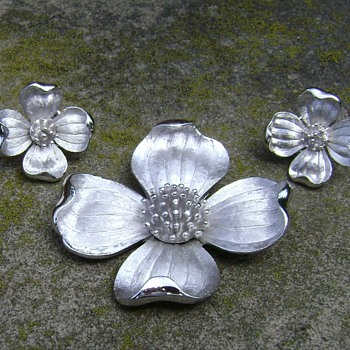 Trifari Dogwood Flower Brooch and Earrings - Costume Jewelry