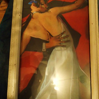 Old frame from Thrift store, with newer Tango print, someone cut to fit I think?
