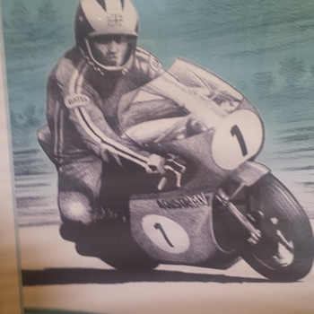 1970 ies Motorcycle racing lithograph - identify artist from signature - Posters and Prints