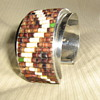 Heishe & turquoise zig-zag stainless steel cuff