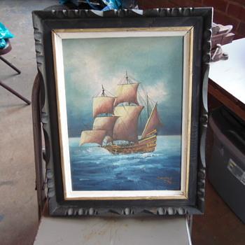 Old Painting Signed,Sanchez Sailing boat - Visual Art