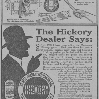 1919 - Hickory Tools Advertisement - Advertising