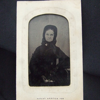 CDV sized tintype of old woman in full mourning clothing