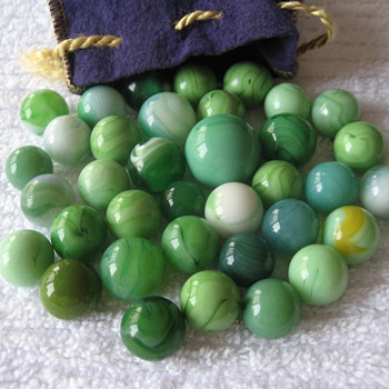 Vintage Green Marbles - Art Glass