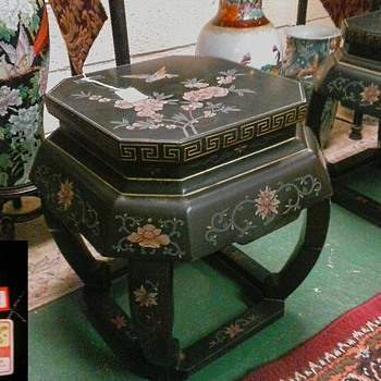 "Black Lacquer ""Garden Stool"" Tables/Bird and Floral Designs/Labeled""Jinlong Furniture Factory"" Beijing China/Circa 20th Century"
