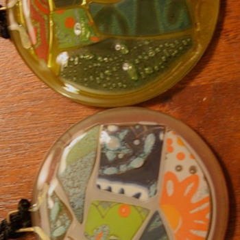 Signed Higgins Fused Glass Medallions  1992 - Art Glass