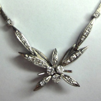 14K White Gold Butterfly Diamond Necklace.