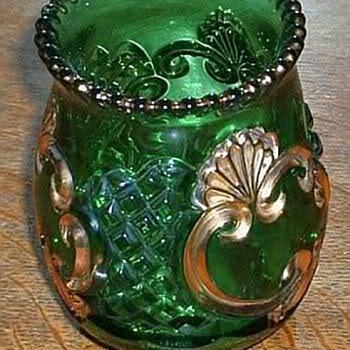 Riverside  Croesus Glass Green & Gold Spooner & Butter Dish - Glassware