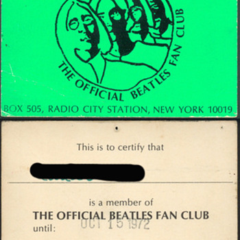 Official Beatles Fan Club membership card