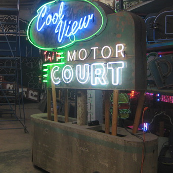 Vintage 1970's COOL VIEW MOTOR COURT Neon Sign * antique / HUGE motel hotel