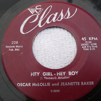 "1958 Oscar McLollie and Jeanette Baker's ""Hey Girl-Hey Boy"" 45rpm - Records"