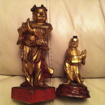 Asian wood figures - Sudhana/Shancai Tongzi