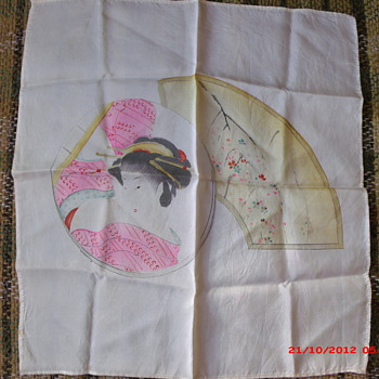 Hand painted Geisha Girl on silk scarf from the Masonic scarf lot I won Saturday 10/19