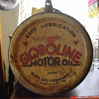 Globoline Motor Oil...5 Gallon Oil Rocker Can...Rusk Oil Company...Philadelphia, Pa.