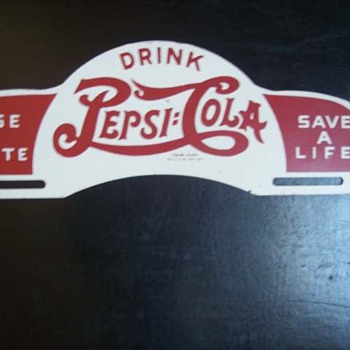 1940's Pepsi Cola License Plate topper - Signs