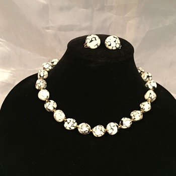 White and Black Stone Necklace and Earrings