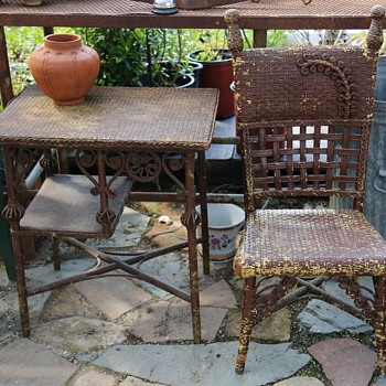 Victorian Wicker Table and Chair - Victorian Era