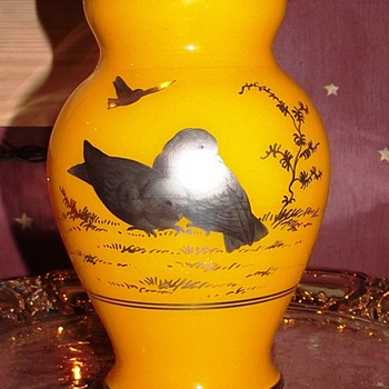 Kralik Chechoslavokia Acid Signed Vase with Silver Birds. - Art Glass