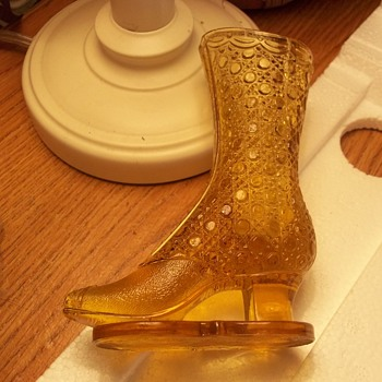 Old Pattern Glass High Top Shoe On Platform-- Unmarked,( and truey antique) - Glassware